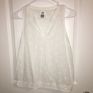 [Old Navy] White Embroidered Tank